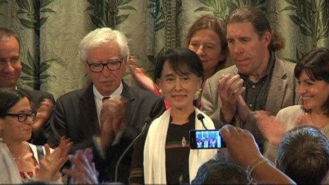 Aung Sann Suu Kyi s'exprime en français : les images