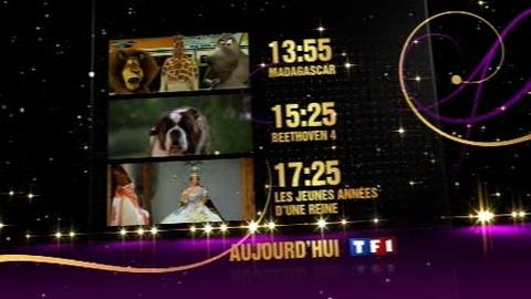 BA - Madagascar / Beethoven 4 / Les jeunes années d'une reine - Jeudi 1er Janvier 2009 à partir de 13h55 sur TF1