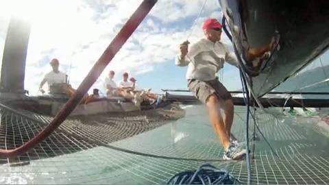 Coupe de l'America : première navigation du AC45, le catamaran à aile rigide