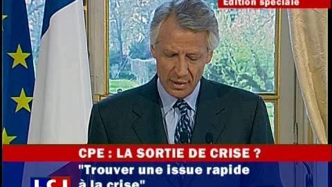 Fin du CPE : la déclaration de Dominique de Villepin