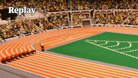 La finale du 100m aux JO de Londres reproduite en Lego