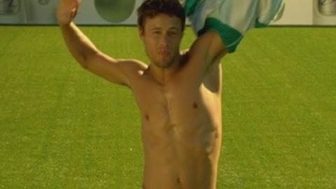 Gorgeous football players take their shirts off