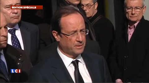 """Hollande: c'est """"la France tout entière"""" qui a été touchée à Toulouse"""