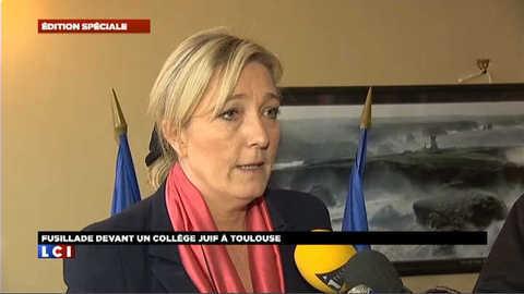 """Marine Le Pen: """"que ce tueur soit mis hors d'état de nuire"""""""
