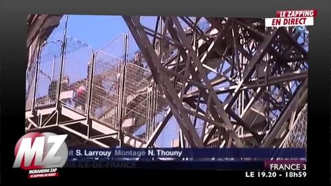Morandini Zap: Les images du sauvetage de la femme qui a escaladé la tour Eiffel hier matin