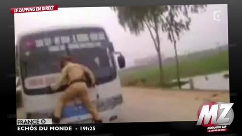 Morandini zap : un policier s'accroche à un bus pour l'arrêter !