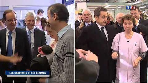 Sarkozy et Hollande célèbrent la journée de la femme