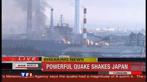 Séisme au japon : une raffinerie et une centrale nucléaire en feu