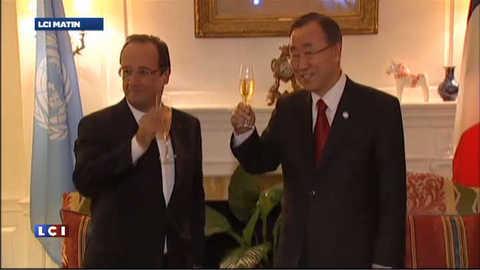 VIDEO : Hollande à New York avec Ban Ki Moon