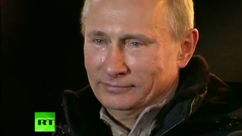 Vladimir Poutine en larmes après sa réélection