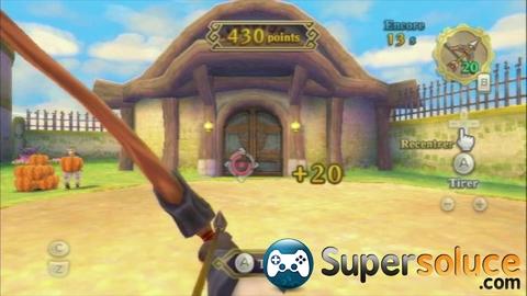 Zelda Skyward Sword fragment de coeur mini jeux l'ile roulette Tir à L'arc